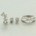 NEW Modern 14K White Gold Diamond 1.00CTW 3PC Star Jewelry Set