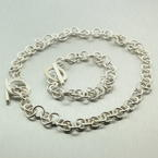 Sterling Silver 925 Cable Chain Link Design Matching Set Bracelet & Necklace