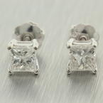 NEW Modern 14K White Gold Princess Cut Diamond Screw Back Stud Earrings