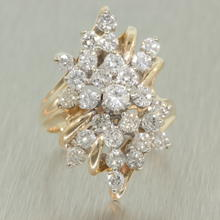 Scintillating Ladies Vintage 14K Yellow Gold Diamond 2.00CTW Cluster Cocktail Ring Jewelry