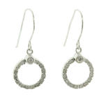 Charming Ladies Vintage 14K White Gold Diamond 0.20CTW Dangle Hook Earrings Jewelry