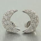 Charming Ladies 14K White Gold Diamond 0.40CTW Half Moon Stud Earrings Jewelry
