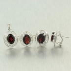 Modern Ladies 14K White Gold Garnet Greek Key Pendant Ring Earrings Set 6.85CTW