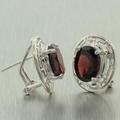Modern Ladies 14K White Gold Garnet Greek Key Pendant Ring Earrings Set 6.85CTW