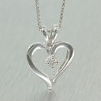 "Lovely Classic 14K White Gold Genuine Diamond Heart Pendant and 20"" Chain Jewelry"