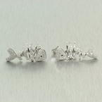 Modern Style 14K White Gold Diamond 1.00CTW Fish Earrings Jewelry