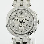 Authentic Stainless Steel Versace V-Race Chronograph Mens Watch