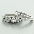 Classic Vintage Estate 14K White Gold Diamond 1.25CTW Wedding Ring Bridal Duo Set