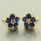 Vintage Estate 14K Yellow Diamond Blue Spinel Floresita Stud Push Back Earrings