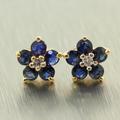 Vintage Estate 14K Yellow Diamond Blue Spinel Floresita Stud Push Back Earrings