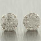 Classic 14K White Gold Round Natural Diamond 0.80CTW Stud Earrings