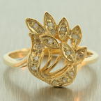 Fine Vintage Estate 10K Yellow Gold Diamond 1/5CTW Cocktail Ring