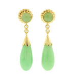 Fine Estate 14K Yellow Gold Jade Drop Push Back Earrings