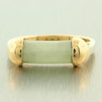 Vintage Estate 14K Yellow Gold Jade Scroll Ring