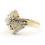 Exquisite Ladies 14K Yellow Gold Diamond 1.75CTW Wedding Ring Jewelry Set