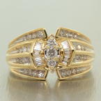 Scintillating Ladies 14K Yellow Gold Diamond 1.10CTW Right Hand Ring Jewelry