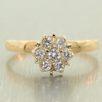 Scintillating Ladies 14k Yellow Gold Diamond Cluster Ring Jewelry