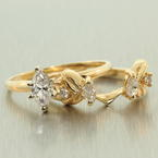 Vintage Womens 14K Yellow Gold Diamond 0.55CTW Wedding Ring Duo Set