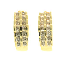 Classic Estate Womens 10K Yellow Gold Natural Diamond 0.50CTW Half Huggie Earrings