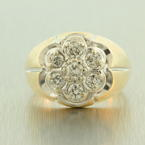 Fine Vintage Men's 14K Yellow Gold Diamond 0.75CTW Kentucky Cluster Ring