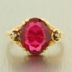 Estate Vintage 10K Yellow Gold Ruby Diamond 3.50CTW Right Hand BirthStone Ring