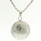 "Sterling Silver 925 Rope Chain 24""in and Beautiful Aztec Calendar Pendant"