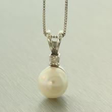 Fine Vintage Estate Classic 14K White Gold Diamond Pearl Pendant Chain Necklace