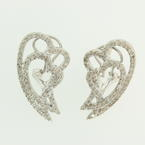 Modern  Womens 14K White Gold Diamond 1.15CTW Overlapping Heart Earrings