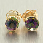 NEW Modern 14K Yellow Gold Mystic Topaz 0.40CTW Stud Earrings