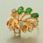 Retro Vintage Estate 14K Yellow Gold Diamond Emerald Cocktail Ring