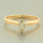 Classic 14K Yellow Gold Natural Diamond 0.25CTW Marquise Engagement Ring