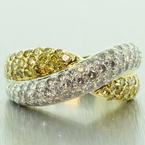 Vintage Estate Retro 18K Yellow Gold Yellow VS Diamond Pave 2.25CTW Right Hand Ring Band