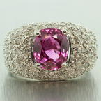 Retro Vintage Estate 18K White Gold Pink Sapphire Diamond Pave 3.75CTW Right Hand Ring Band