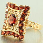 Vintage Estate 14K Yellow Gold Garnet Filigree Cocktail Right Hand Ring