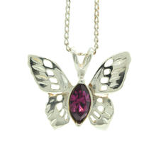 Charming Silver 925 Butterfly Purple Marquise Stone Pendant Necklace