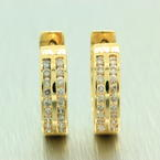 NEW Classic Womens 14K Yellow Gold Natural Diamond Huggie Earrings