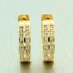 NEW Classic Womens 14K Yellow Gold Natural Diamond Huggie Earrings