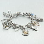 Estate Modern 14K White Gold Diamond 14 Piece Charm Bracelet