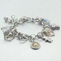 Estate Modern 14K White Gold Diamond 14 Piece Charm Bracelet