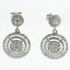 Modern Ladies 14K White Gold Natural Round Diamond 1.55CTW Drop Push Back Earrings