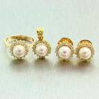 Vintage Estate Classic 14K Yellow Gold Cultured Pearl Diamond Halo Three Piece Set