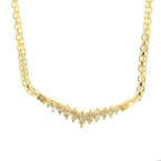 "Retro Vintage Estate 14K Yellow Gold Diamond 14"" Bismark Chain Necklace"