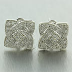 Retro Vintage Estate 14K White Gold Diamond 0.75CTW Huggie French Back Earrings