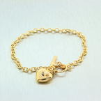 "NEW Modern 14K Yellow Gold Toggle Heart 7"" Diamond Bracelet"