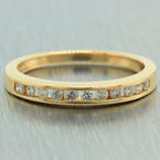 Classic Unisex 14K Yellow Gold Authentic Diamonds Ring Band Jewelry