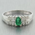 NEW Modern 14K White Gold Oval Emerald and Diamond May Birthstone Right Hand Ring