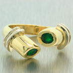 Estate Retro Vintage 14K Yellow Gold Emerald Bezel Open Bypass Right Hand Ring