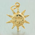 Estate 14K Yellow Gold High Polished 25mm 3D Sun Face Charm Pendant