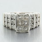Vintage Estate 14K White Gold Diamond VS 1.98CTW Princess Cut Engagement Ring
