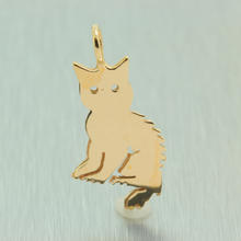 Estate 14K Yellow Gold High Polished 25mm Cat Charm Pendant